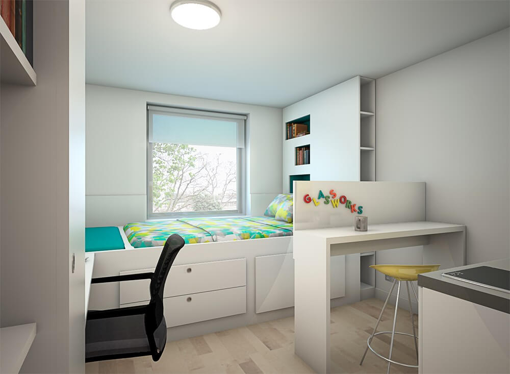 studio apartment with bedroom - bright and full of light