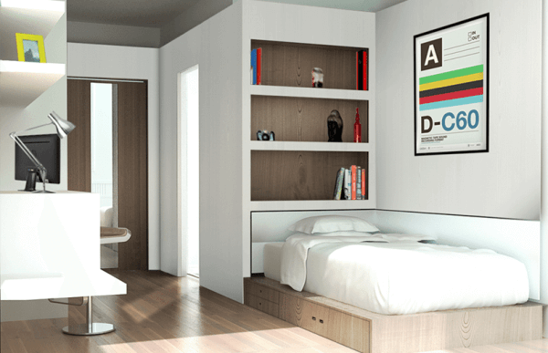 white interior student room with bed d-c60